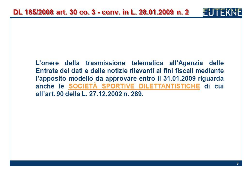 DL 185/2008 art. 30 co. 3 - conv. in L. 28.01.2009 n. 2