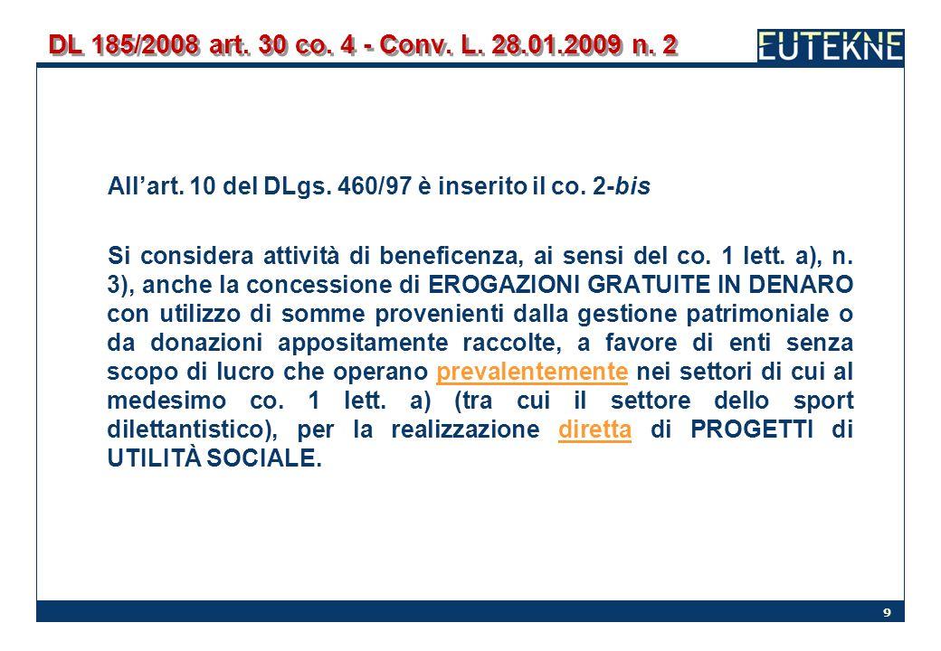 DL 185/2008 art. 30 co. 4 - Conv. L. 28.01.2009 n. 2 All'art. 10 del DLgs. 460/97 è inserito il co. 2-bis.