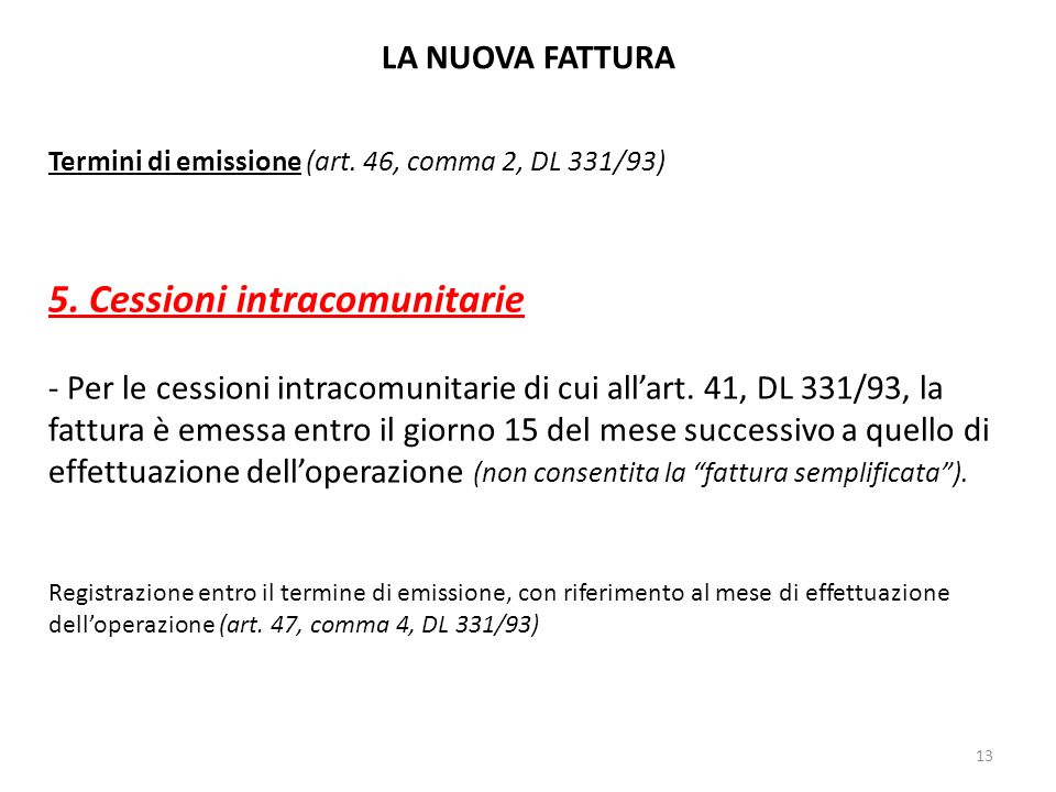 5. Cessioni intracomunitarie