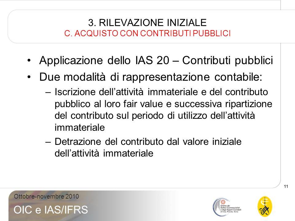 3. RILEVAZIONE INIZIALE C. ACQUISTO CON CONTRIBUTI PUBBLICI