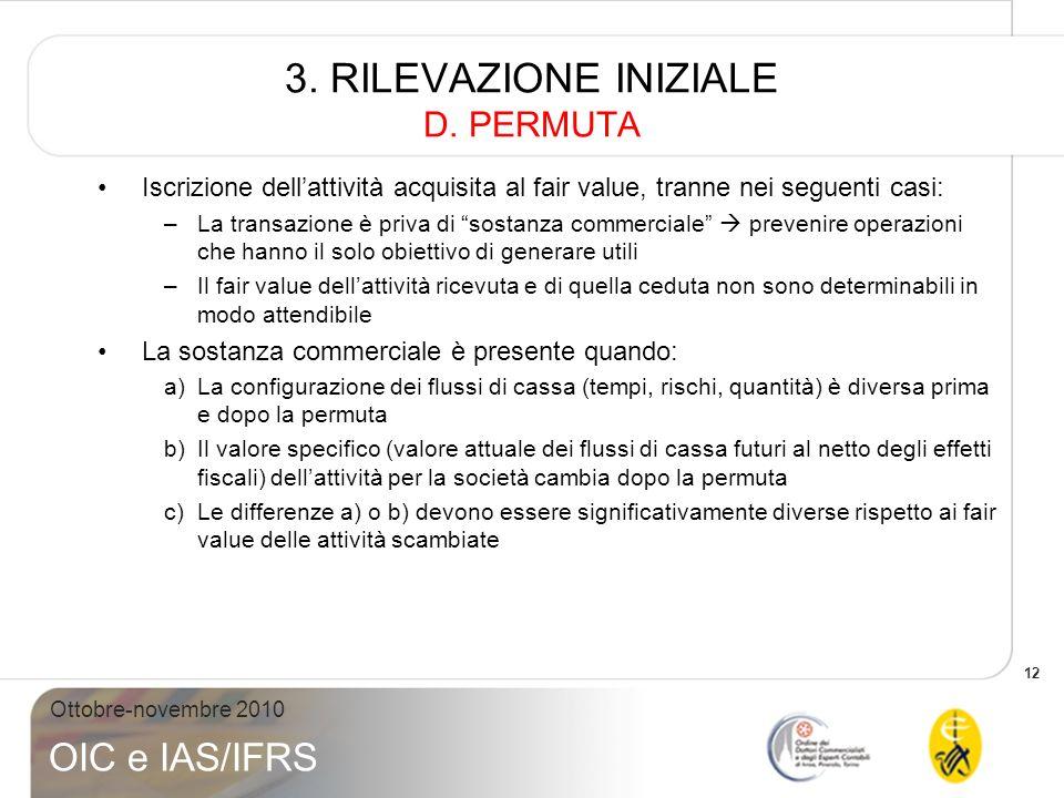 3. RILEVAZIONE INIZIALE D. PERMUTA