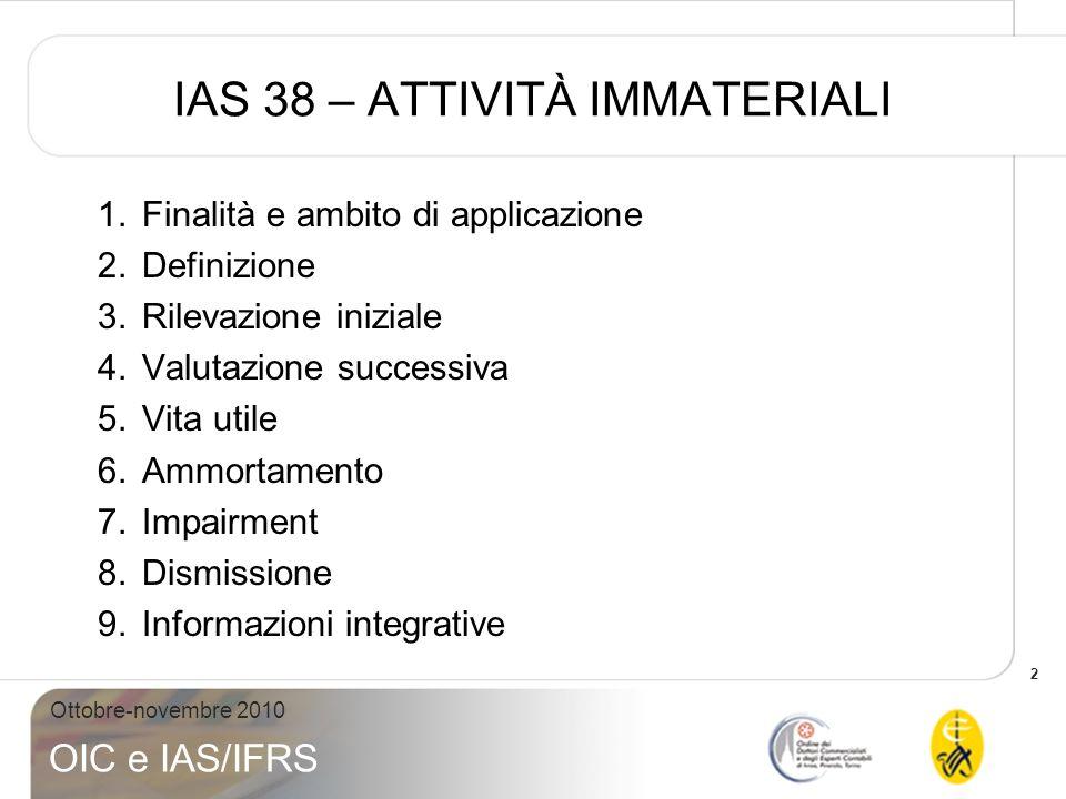 IAS 38 – ATTIVITÀ IMMATERIALI