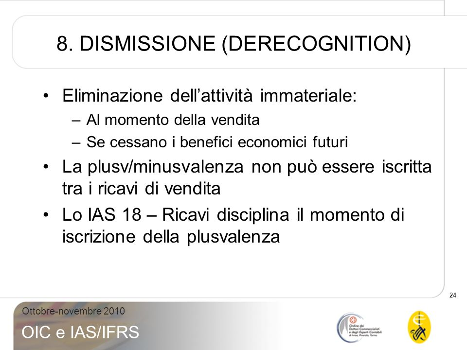 8. DISMISSIONE (DERECOGNITION)