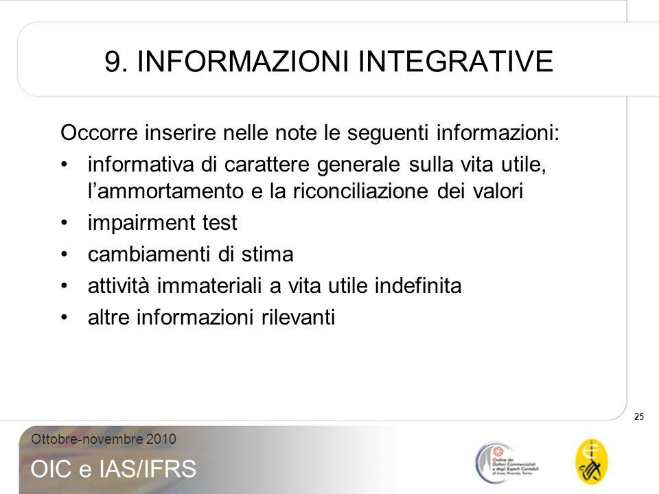9. INFORMAZIONI INTEGRATIVE