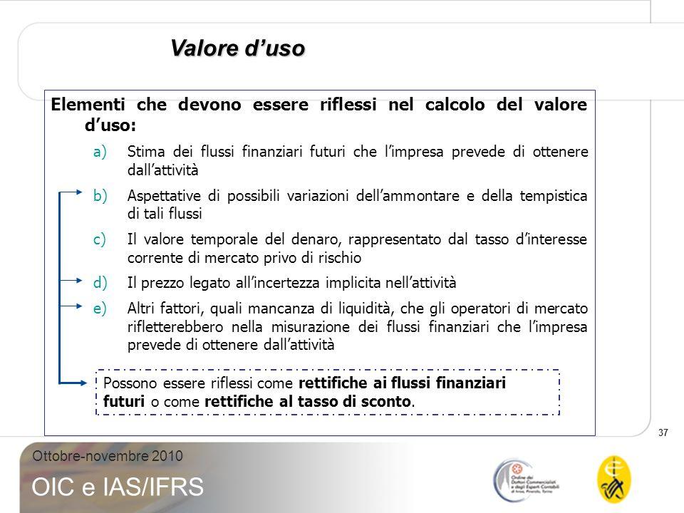 Valore d'uso Elementi che devono essere riflessi nel calcolo del valore d'uso: