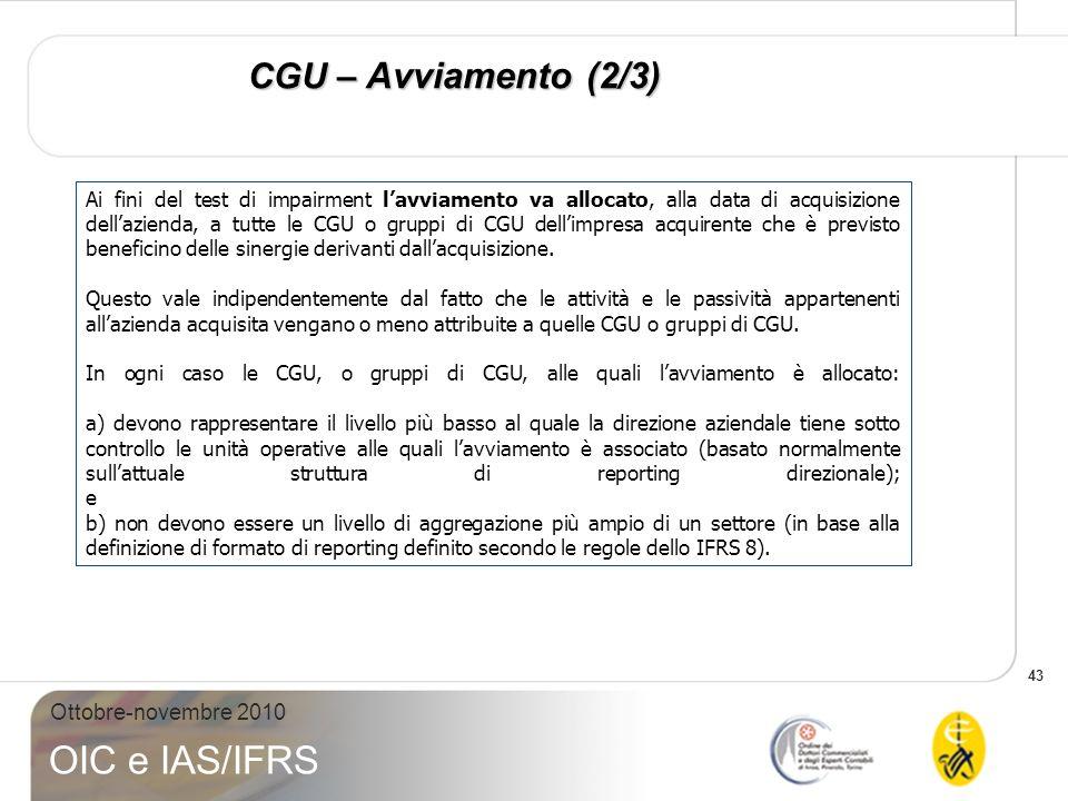 CGU – Avviamento (2/3)