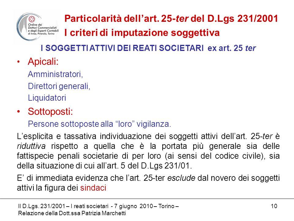 I SOGGETTI ATTIVI DEI REATI SOCIETARI ex art. 25 ter