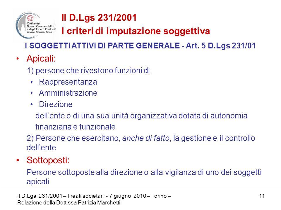 I SOGGETTI ATTIVI DI PARTE GENERALE - Art. 5 D.Lgs 231/01
