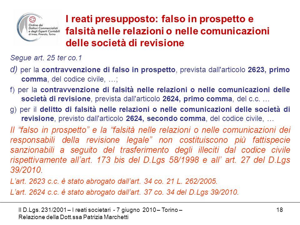 I reati presupposto: falso in prospetto e falsità nelle relazioni o nelle comunicazioni delle società di revisione