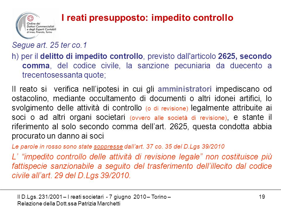 I reati presupposto: impedito controllo