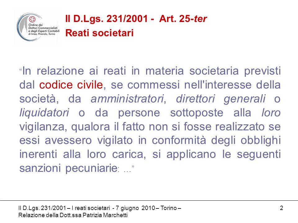 Il D.Lgs. 231/2001 - Art. 25-ter Reati societari