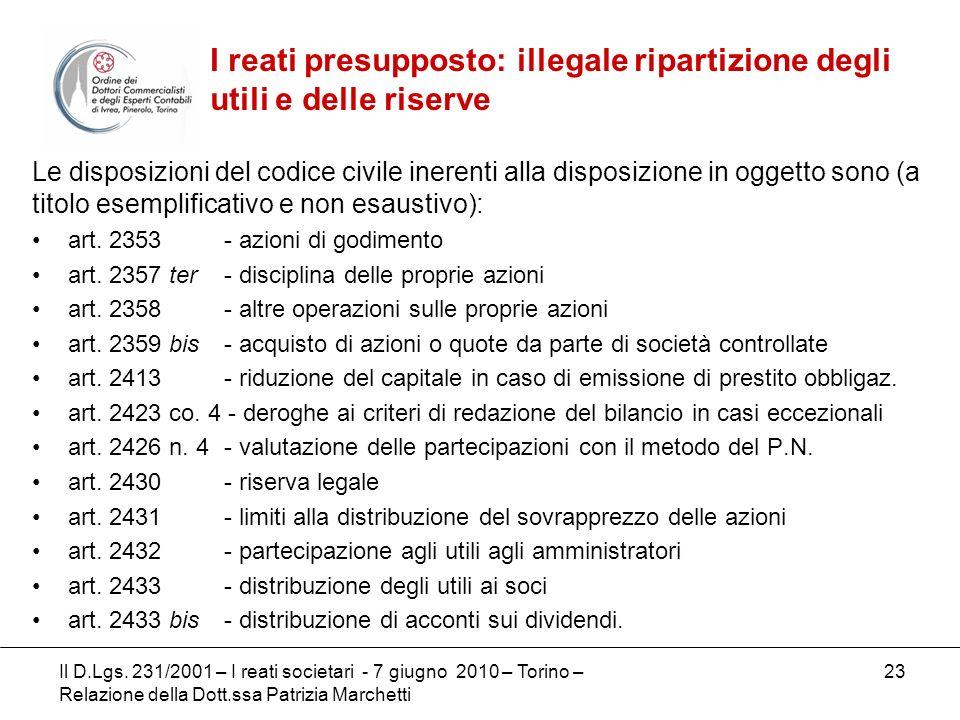I reati presupposto: illegale ripartizione degli utili e delle riserve