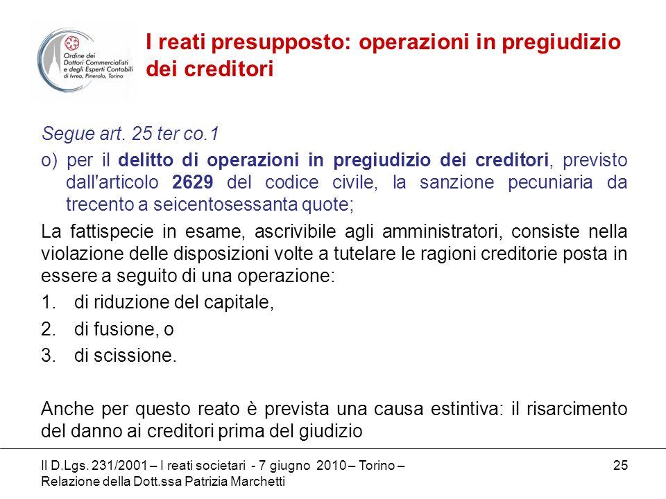 I reati presupposto: operazioni in pregiudizio dei creditori