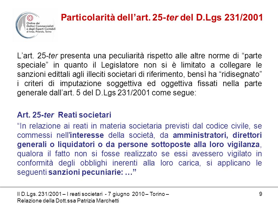 Particolarità dell'art. 25-ter del D.Lgs 231/2001