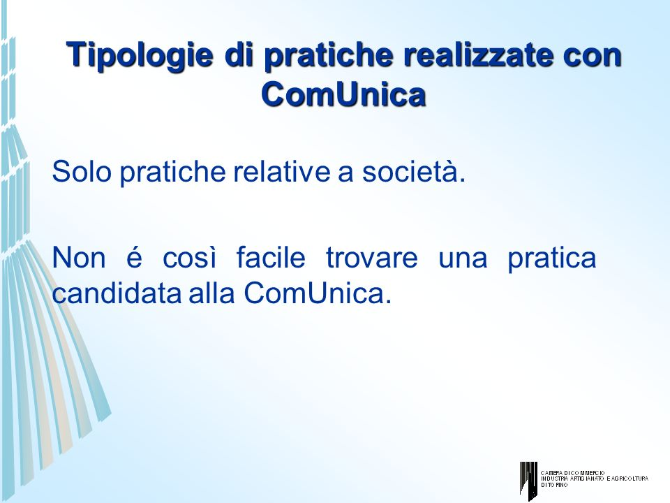 Tipologie di pratiche realizzate con ComUnica