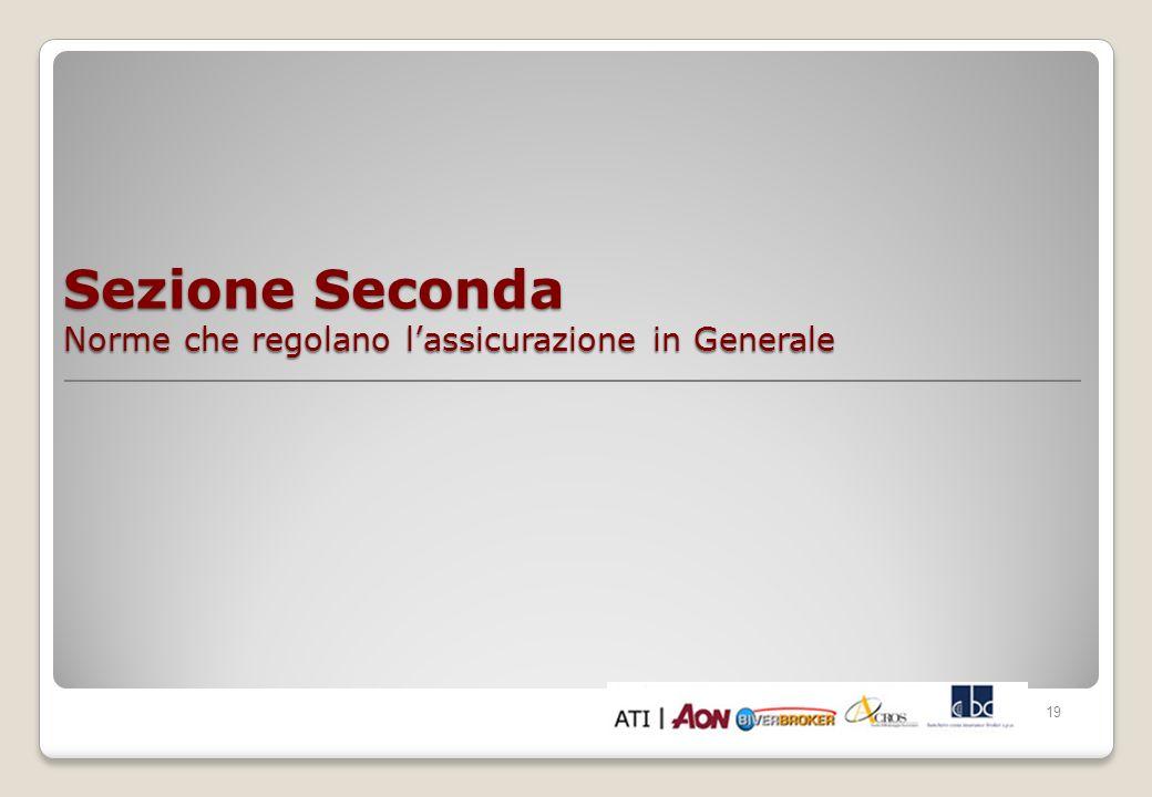 Sezione Seconda Norme che regolano l'assicurazione in Generale