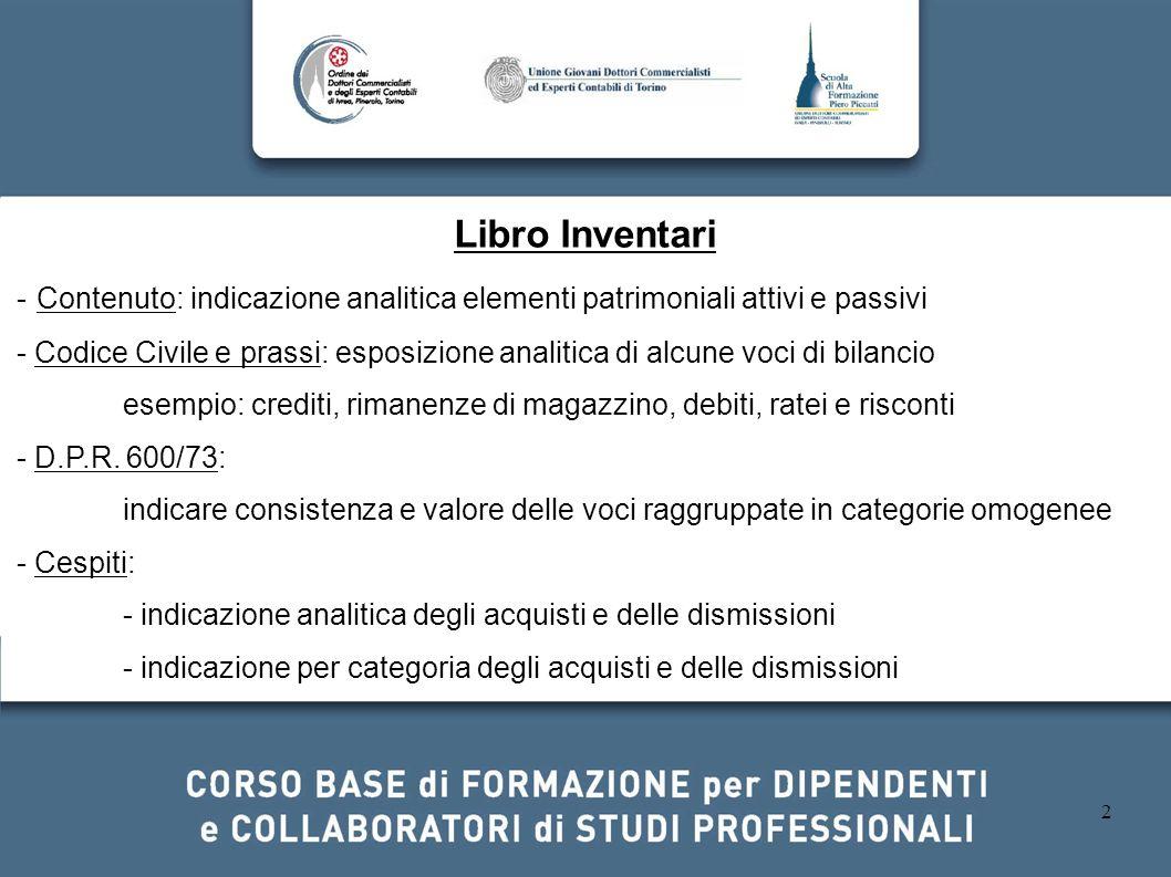 Libro Inventari- Contenuto: indicazione analitica elementi patrimoniali attivi e passivi.