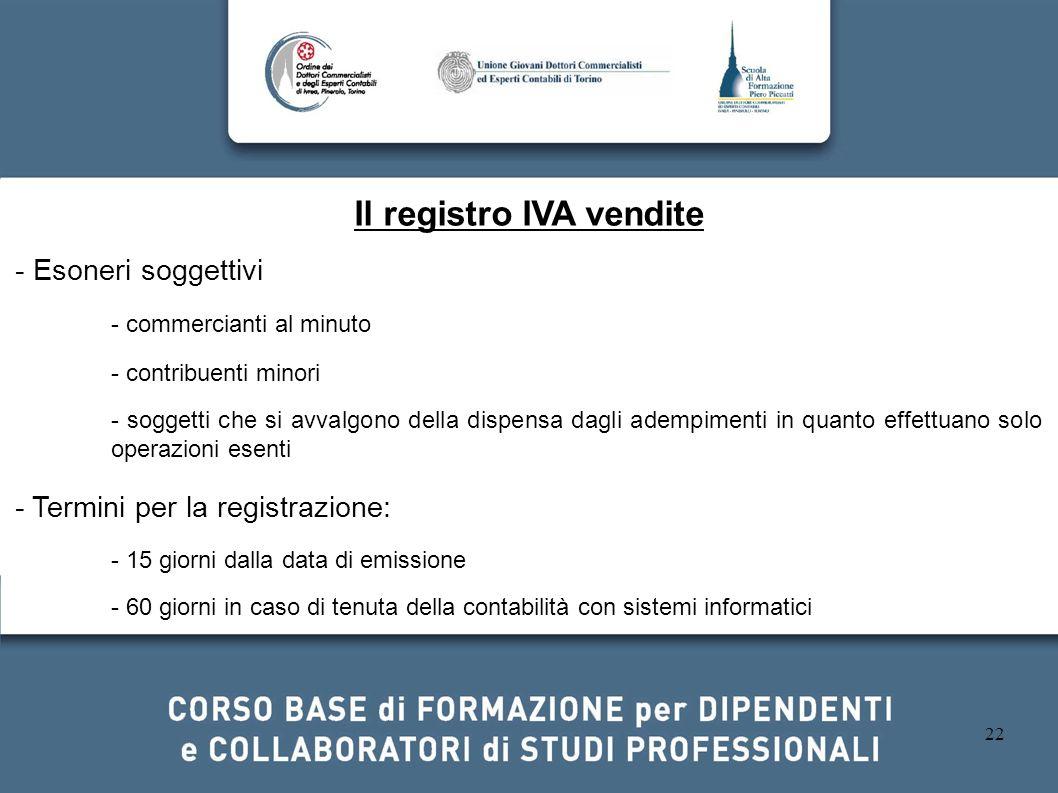 Il registro IVA vendite