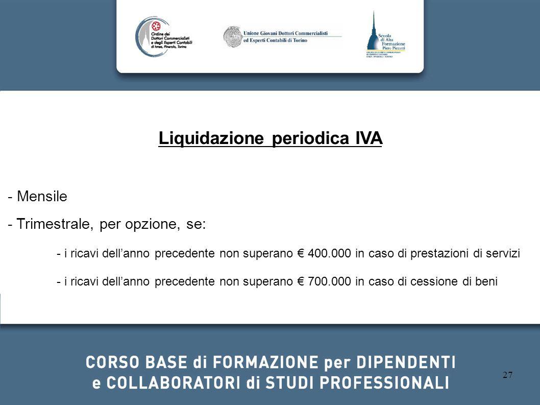Liquidazione periodica IVA