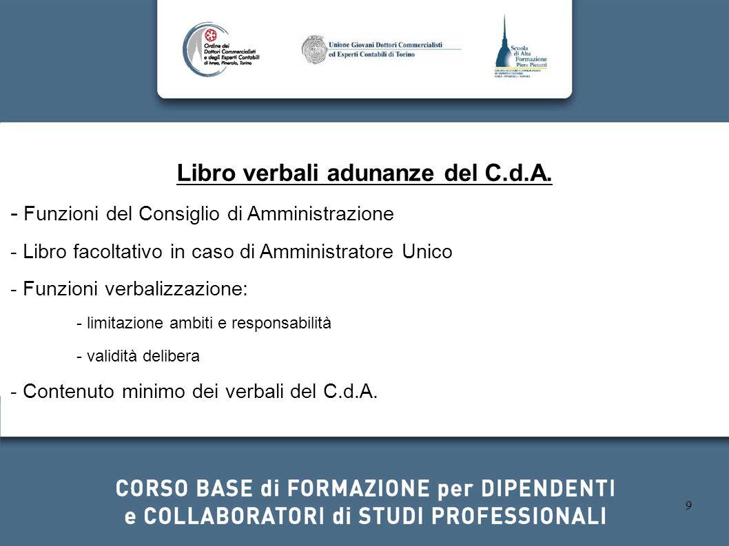 Libro verbali adunanze del C.d.A.