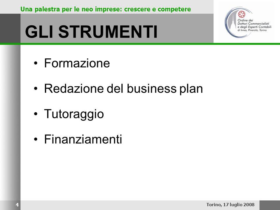 GLI STRUMENTI Formazione Redazione del business plan Tutoraggio