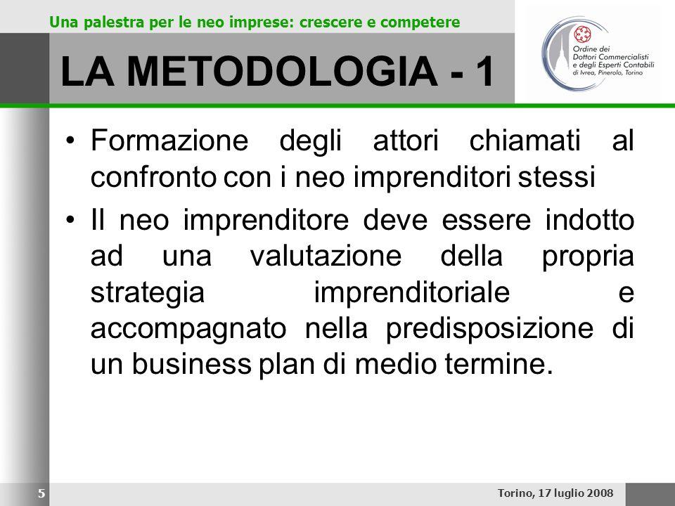 LA METODOLOGIA - 1 Formazione degli attori chiamati al confronto con i neo imprenditori stessi.