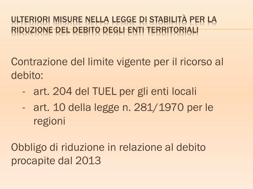 Ulteriori misure nella legge di stabilità per la riduzione del debito degli enti territoriali