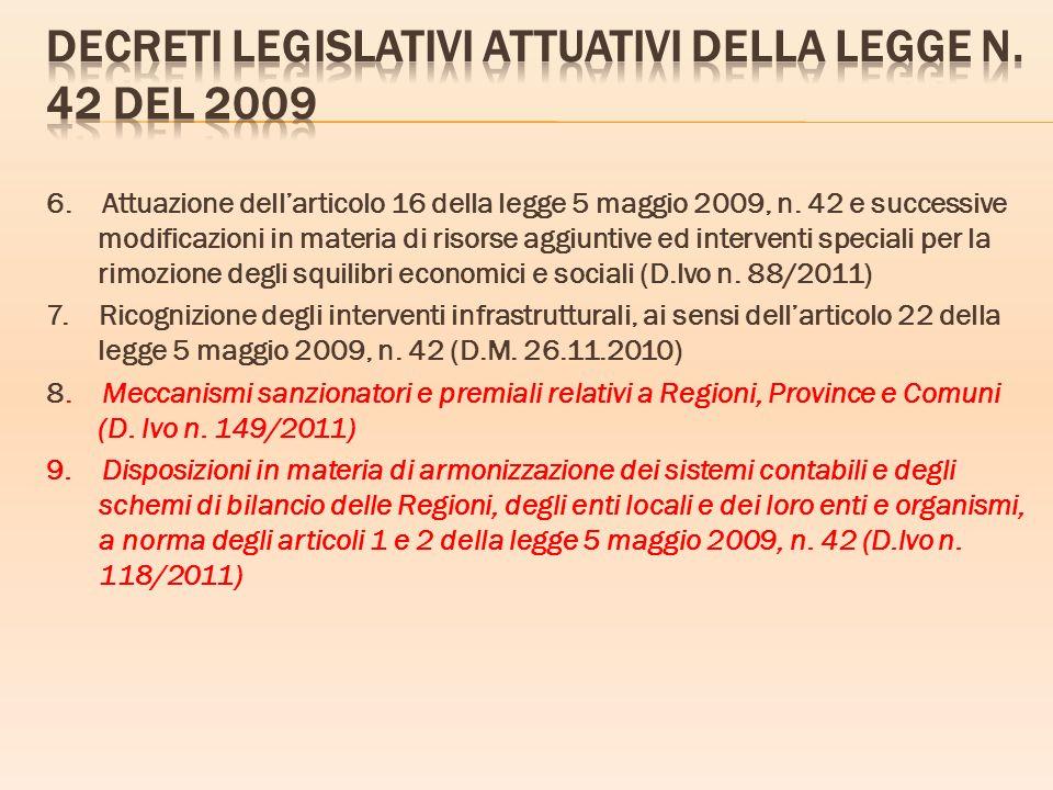 Decreti legislativi attuativi della legge n. 42 del 2009