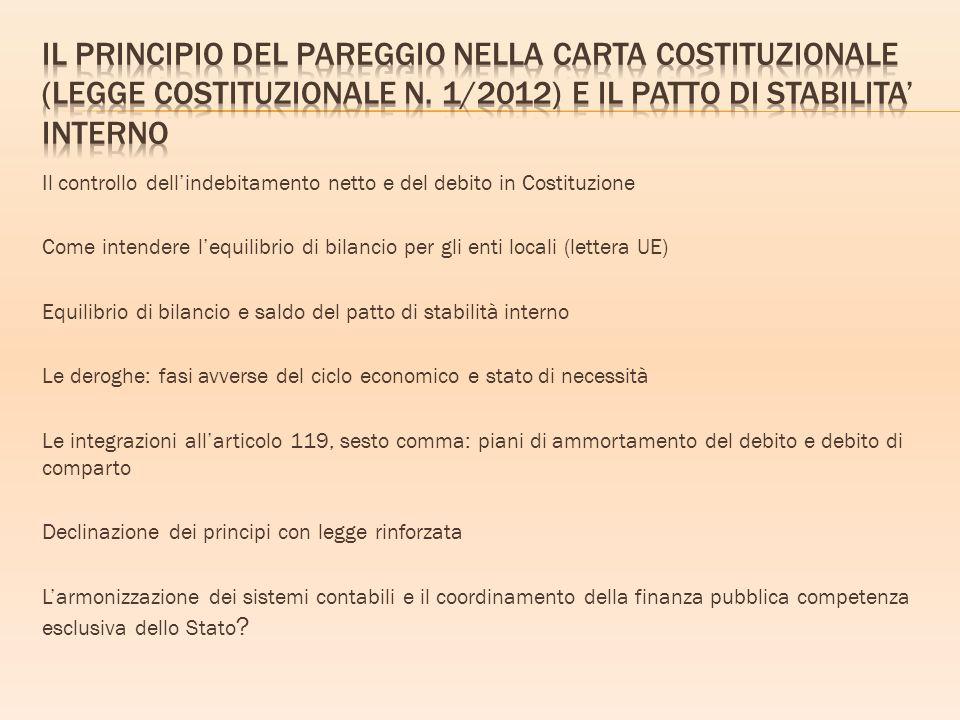 Il principio del pareggio nella carta costituzionale (Legge costituzionale n. 1/2012) e il Patto di stabilita' interno