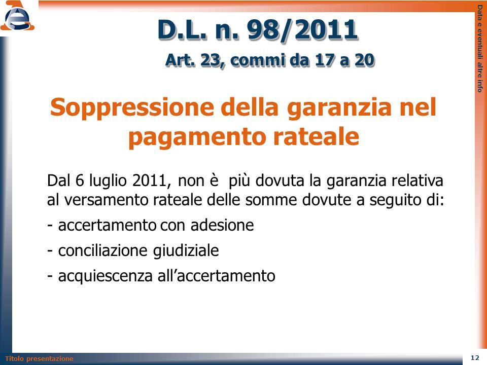 Soppressione della garanzia nel pagamento rateale