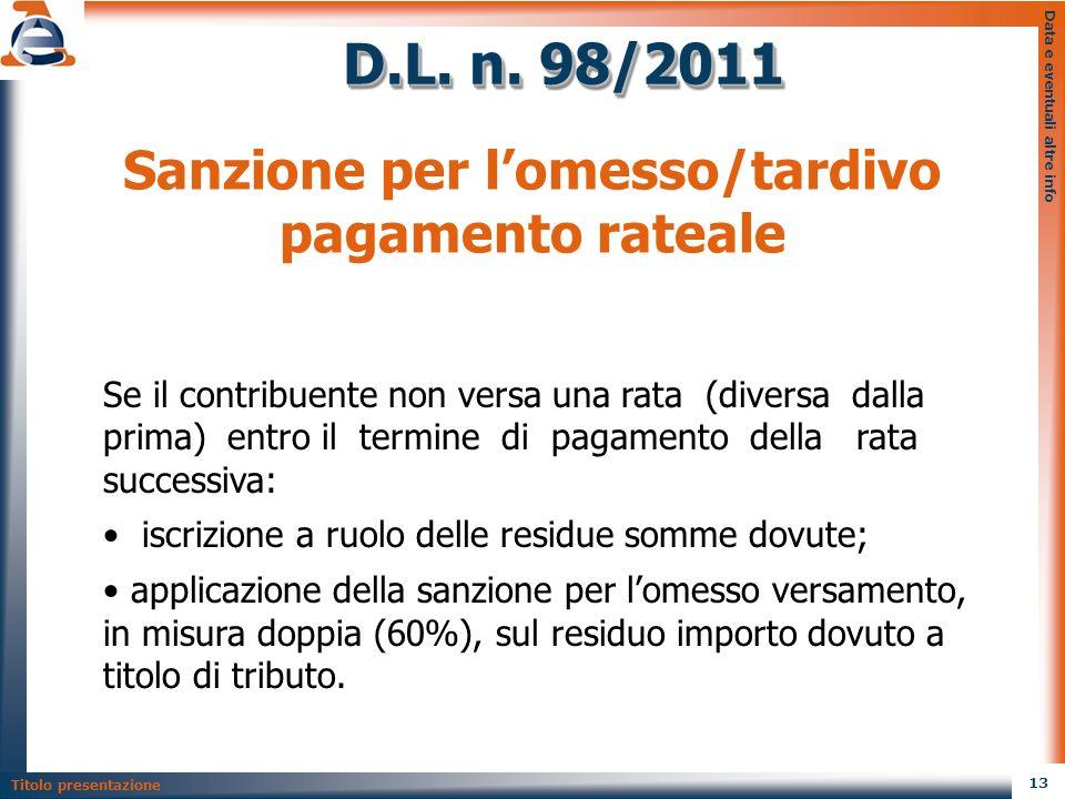 Sanzione per l'omesso/tardivo pagamento rateale