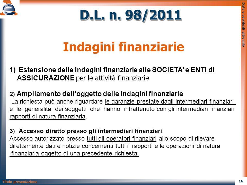 D.L. n. 98/2011 Indagini finanziarie