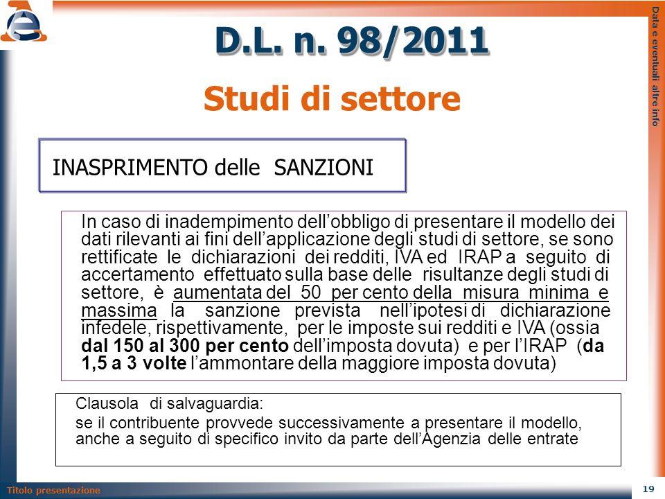 D.L. n. 98/2011 Studi di settore INASPRIMENTO delle SANZIONI