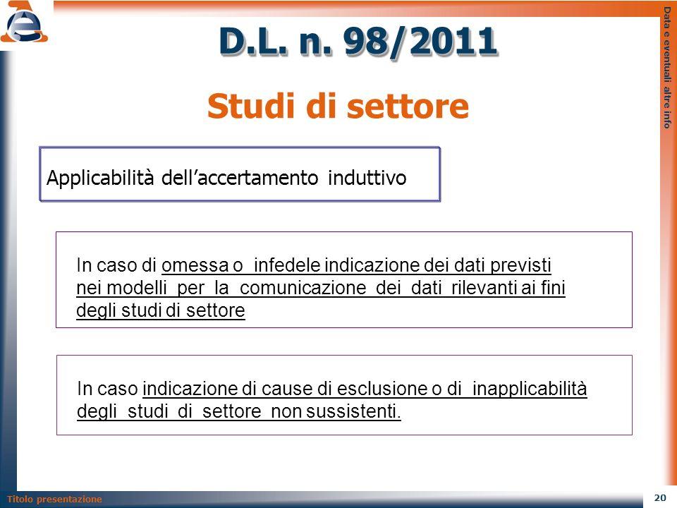 D.L. n. 98/2011 Studi di settore. Data e eventuali altre info. Applicabilità dell'accertamento induttivo.