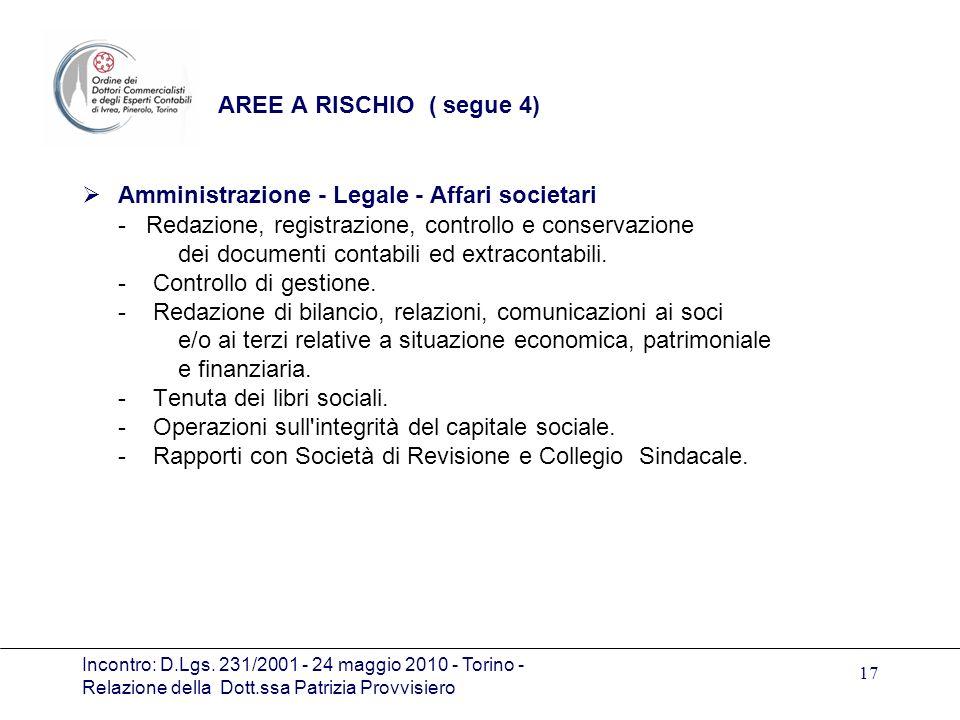 Amministrazione - Legale - Affari societari