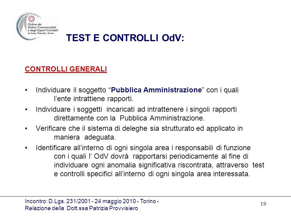 TEST E CONTROLLI OdV: CONTROLLI GENERALI