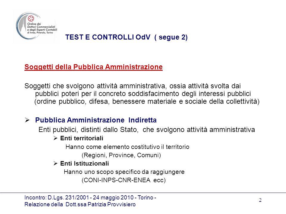 TEST E CONTROLLI OdV ( segue 2)
