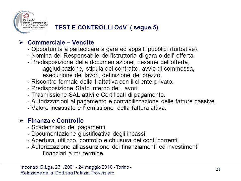 TEST E CONTROLLI OdV ( segue 5)