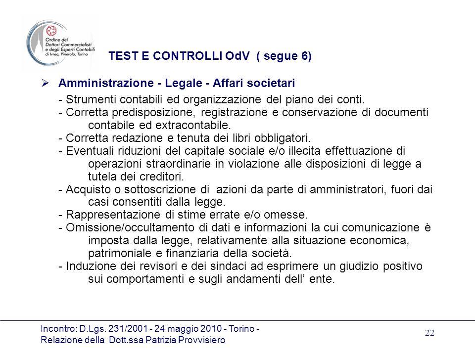 TEST E CONTROLLI OdV ( segue 6)