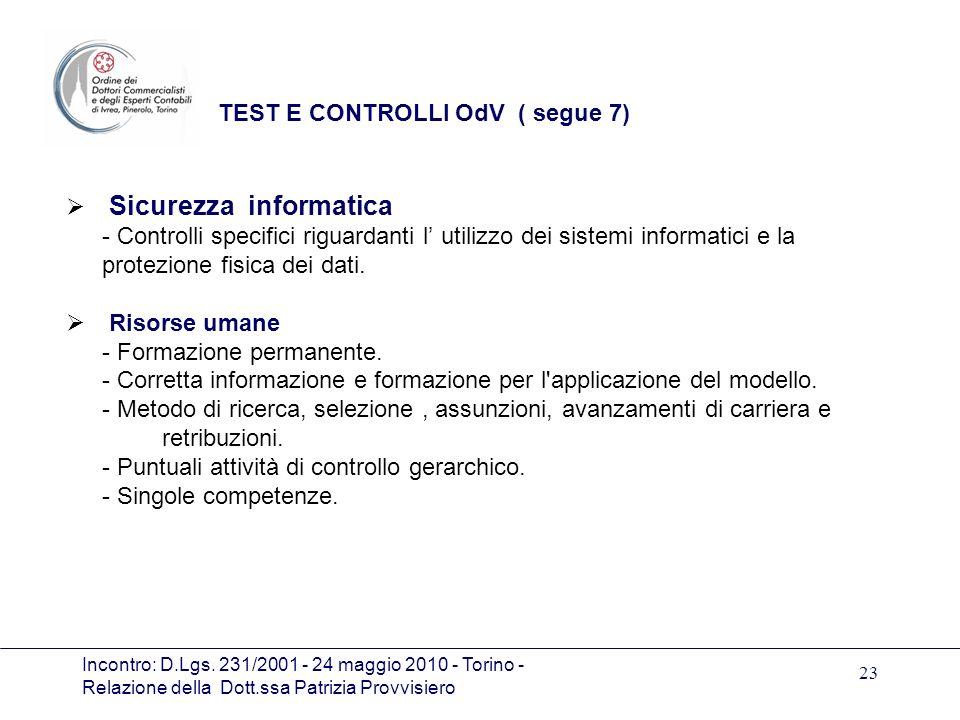 TEST E CONTROLLI OdV ( segue 7)