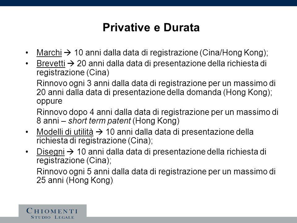 Privative e Durata Marchi  10 anni dalla data di registrazione (Cina/Hong Kong);