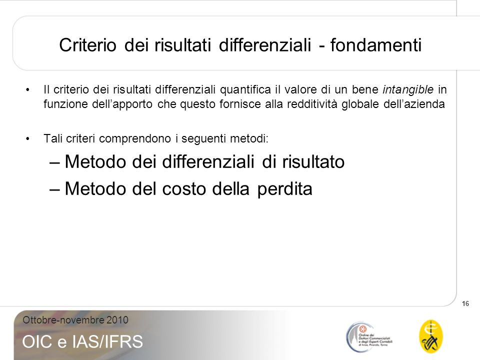 Criterio dei risultati differenziali - fondamenti