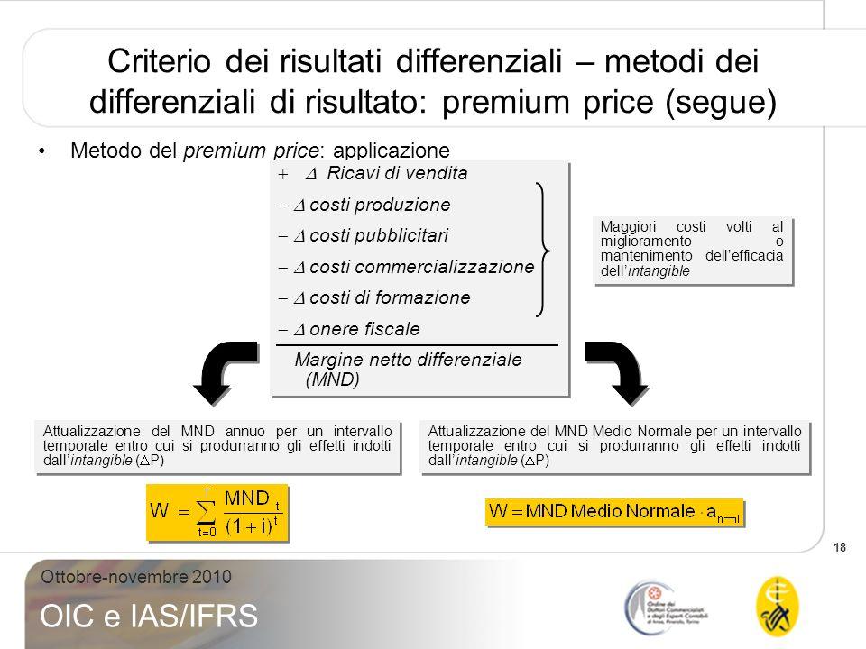 Criterio dei risultati differenziali – metodi dei differenziali di risultato: premium price (segue)
