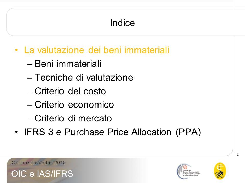 Indice La valutazione dei beni immateriali. Beni immateriali. Tecniche di valutazione. Criterio del costo.