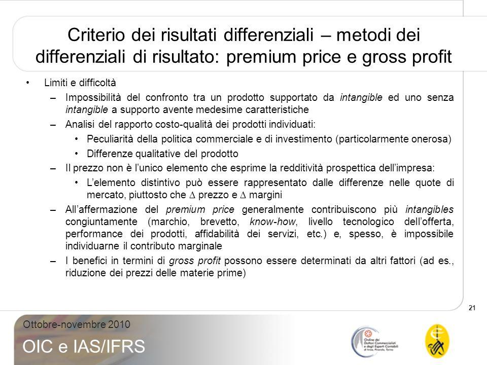 Criterio dei risultati differenziali – metodi dei differenziali di risultato: premium price e gross profit