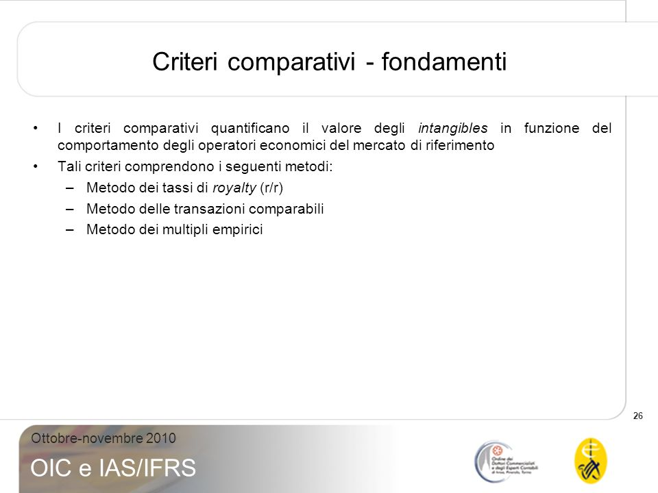 Criteri comparativi - fondamenti