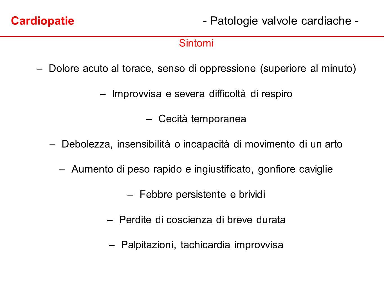 Cardiopatie - Patologie valvole cardiache -