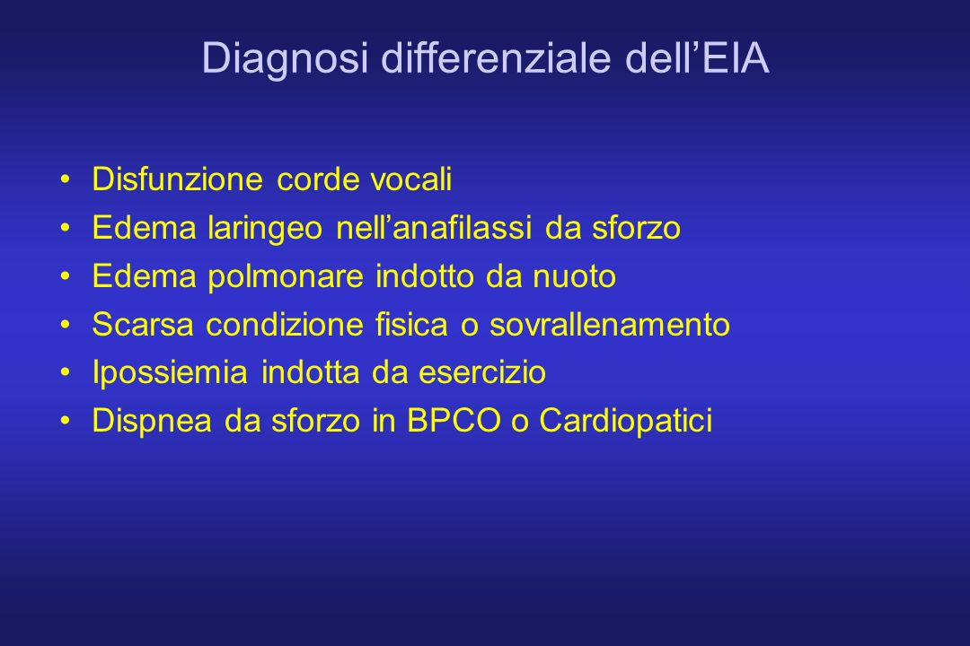 Diagnosi differenziale dell'EIA