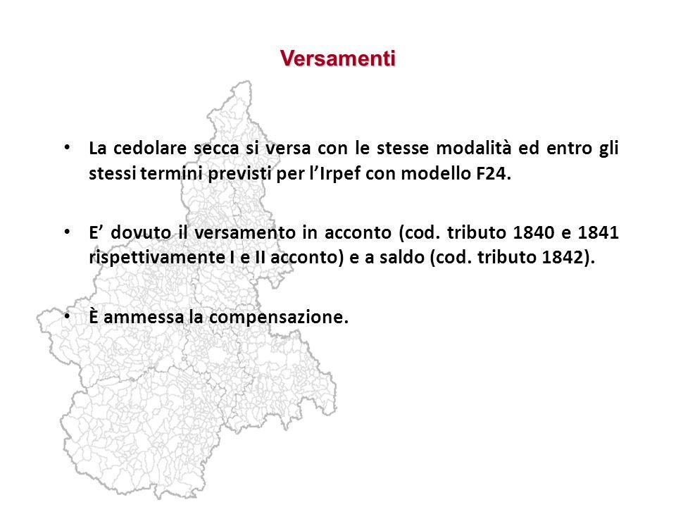 Versamenti La cedolare secca si versa con le stesse modalità ed entro gli stessi termini previsti per l'Irpef con modello F24.