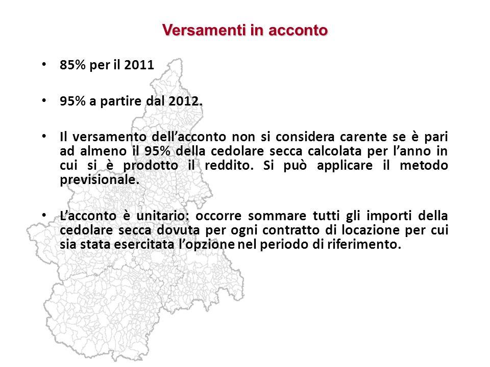Versamenti in acconto 85% per il 2011 95% a partire dal 2012.